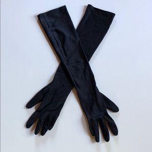 Vintage| Long Black Stretchy Gloves | O/S